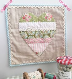 A little happy Tutorial (of sorts!) ~ Tilda Bumblebee Heart Mini Quilt (A Little Happy Place) Heart Quilt Pattern, Hand Quilting Patterns, Patchwork Quilt Patterns, Hexagon Quilt, Square Quilt, Quilting Projects, Quilting Designs, Sewing Projects, Sewing Designs