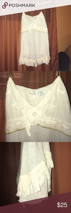 Miss Me Cream colored Boho Tank Women's large Miss Me cream colored dress up or down tank. Fringes at bottom, lace lining the breast w gold trim, flowing fit. Miss Me Tops Tank Tops