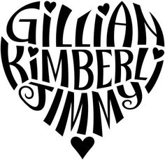"""A custom design of the names """"Gillian"""", """"Kimberli"""", & """"Jimmy"""", created in a heart shape for a tattoo design. More information can be found in my profile (www.flickr.com/people/tiffanyharvey/)."""