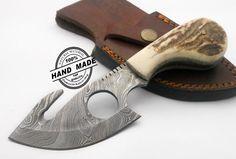 Professional Damascus Skinner Knife Custom Handmade Damascus Steel Hunting Knife Beautiful Damascus Skinner Knife With Stag Handle Leather Sheaths 1175