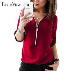 e55fe8cbbad V Neck Zipper Long Sleeve Autumn Blouse Big Size 4XL 5XL Women Casual Elegant  Ladies Office Shirts Womens Tops And Blouses