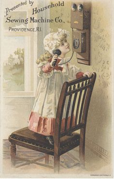 Antique trade card of Household Sewing Machine Co. shows a little girl making a phone call.