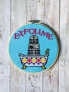 Who Dalek modern cross stitch taperstry kit Cross Stitch Embroidery - Doctor Who Dalek, exfoliate cross stitch kit. Everything you need to create your own piece of wall art. Your kit includes. Modern Cross Stitch, Cross Stitch Kits, Cross Stitch Designs, Cross Stitch Patterns, Learn Embroidery, Cross Stitch Embroidery, Hand Embroidery, Crochet Stitches Patterns, Embroidery Patterns
