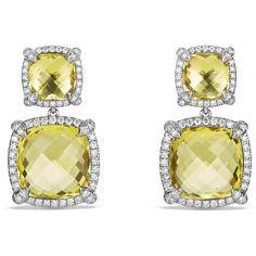 David Yurman Chatelaine Pave Bezel Double Drop Earring with Lemon... ($2,900) via Polyvore featuring jewelry, earrings, diamond jewelry, citrine drop earrings, bezel earrings, pave drop earrings and citrine earrings