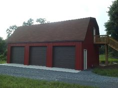 Red Pole Barn With Brown Roof