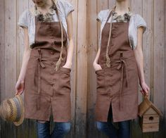 Handmade Linen Apron With Wooden Buttons, by KnockKnockLinen