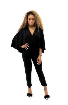 STITCH FIX #STYLE #FASHION Cape Jumpsuit - Black as seen in December 2015 PEOPLE STYLE WATCH Celeb Style Khloe Kardashian Kim Kardashian Jessica Alba