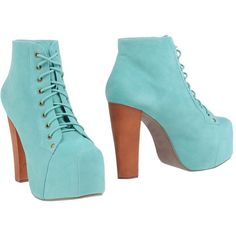 Jeffrey Campbell Ankle Boots ($134) ❤ liked on Polyvore featuring shoes, boots, ankle booties, heels, turquoise, square toe boots, short leather boots, heel boots, ankle boots and heeled bootie