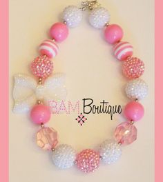 Chunky Toddler Necklace Pink Sparkle Bow Girls by BAMBeadBoutique