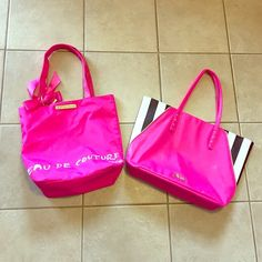 Juicy couture tote bundle! The leather one with stripes is brand new with tag and the one on the left has been used once or twice still in mint condition! Juicy Couture Bags Totes