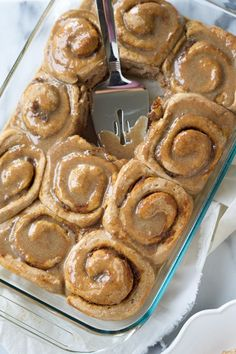 These Pumpkin Cake Mix Cinnamon Rolls are made easier by starting with a cake mix then drizzled in a delicious brown sugar maple glaze! Your family will love waking up to these! Delicious Desserts, Dessert Recipes, Yummy Food, Yummy Recipes, Poblano, Sheet Cake Recipes, Breakfast Items, Pumpkin Recipes, Pumpkin Pumpkin