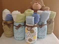 Set of 5 Hand Painted and Distressed Mason Jars, Baby, Baby Shower, Home Decor Baby Shower Parties, Baby Shower Themes, Baby Shower Decorations, Baby Shower Gifts, Shower Ideas, Floral Decorations, Shower Party, Baby Showers, Baby Boy Camo