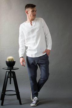 Men's linen shirt / Gift for him / Wedding shirt / Handmade clothing for man / Natural flax shirt by on Etsy White Linen Trousers, White Linen Shirt, White Shirts, Mens Linen Outfits, Linen Shirts For Men, Summer Outfits Men, Men's Outfits, Summer Men, Casual Summer