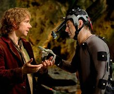 """Gollum: """"Give me the precious."""" Bilbo: """"The what? I don't have it..."""" Andy breaks character: """"Seriously, Freeman. Give it to me."""" Martin: """"Dude..."""""""