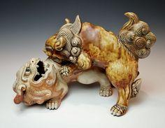 Spectacular Antique Japanese Shishi Statue Edo Porcelain Temple Dog Foo Lions | eBay