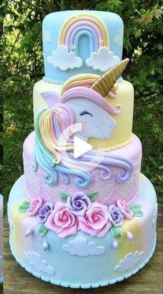 Funny Birthday Cakes, Elegant Birthday Cakes, Pretty Birthday Cakes, Homemade Birthday Cakes, Adult Birthday Cakes, Birthday Cakes For Women, Birthday Kids, Unicorn Birthday, Cake Birthday