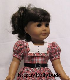 1950's Coral Plaid Frock Fits 18 American Girl by KeepersDollyDuds