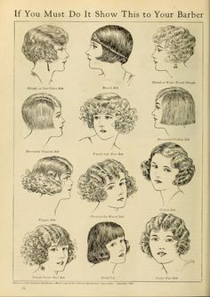 """Examples of the Flapper hair styles, """"Courtesy of the American Hairdresser"""" in """"Photoplay Magazine"""": June 1924, """"The Battle for Bobbed Hair"""""""
