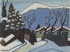 .. Semsakrebsler: Gabriele Münter/drei Häuser im Schnee