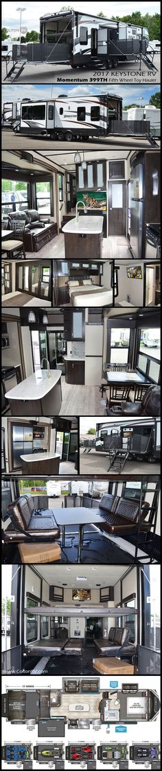 You can pack a whole lot of fun into this Momentum Fifth Wheel Toy Hauler by Grand Design! There is so much sleeping space for a few extra buddies to tag along, one and a half baths, a fireplace fold down side patio, plus so much more. Best Tents For Camping, Tent Camping, Camping Hacks, Glamping, Fifth Wheel Toy Haulers, Fifth Wheel Campers, 5th Wheel Camper, Toy Hauler Camper, Camper Storage