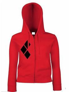 Harley Quinn inspired madness red zip hoodie quote batman suicide squad joker