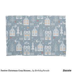 Festive Christmas Cosy Houses Design Pillow Case Christmas Bedding, Cosy House, Christmas Gift Wrapping, Deck The Halls, Designer Pillow, Winter Christmas, Festive, Pillow Cases, Christmas Decorations