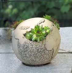 Little sphere rocky garden planter - gorgeous little planter.