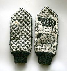 Pattern: Cotten Gin and Tonic. Knit by: Anne Grove Double Knitting Patterns, Fair Isle Knitting Patterns, Fair Isle Pattern, Knitting Designs, Mittens Pattern, Knit Mittens, Knitting Socks, Hand Knitting, Cross Stitch Bird