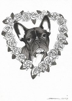 French Bulldog, Lonley in Love, Frenchie Tattoo Design , sketchbook page by Jeroen Teunen , the Dog Painter.