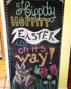 Easter chalkboard art; Easter bunny; spring flowers; Easter chalk art; rabbit chalk art