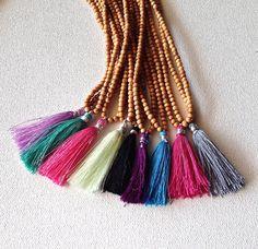 silk tassel necklace  Indian sandalwood  bohemian by alexkeller, $30.00