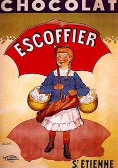 Chocolat Escoffier vintage advertising poster by Coulet (1920)