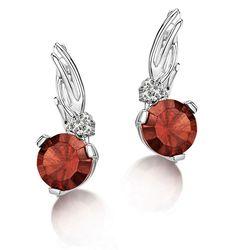 3.07ct Garnet 0.05ct Diamond and 9K White Gold Earrings -  H4548. #thediamondstoreuk #garnet #birthstone #ring #January