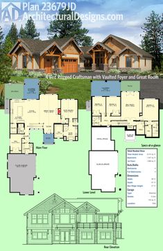 Architectural Designs Craftsman House Plan 23679JD has a rugged exterior with great use of timber elements and a courtyard-style garage. With a walkout lower level, it is perfect for your shopping lot. Ready when you are. Where do YOU want to build?