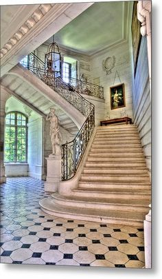 Chateau stairway Wood Print by Jan Carr. All wood prints are professionally printed, packaged, and shipped within 3 - 4 business days and delivered ready-to-hang on your wall. Choose from multiple sizes and mounting options. Old Mansions Interior, Mansion Interior, Luxury Mansions, Palace Interior, Luxury Interior, Huge Mansions, Luxury Homes Exterior, Dream Home Design, House Design