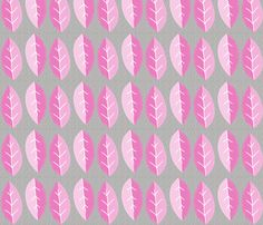 pink_and_grey_leaves fabric by wendyg on Spoonflower - custom fabric