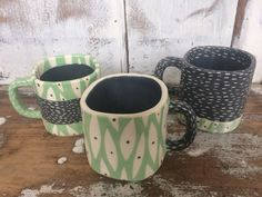 Ceramic handmade Mug new leaf pattern.