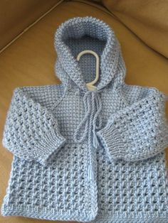 Light Blue Crochet Baby Sweater with Hood for Boy  -  0-3 Months in Tunisian Crochet - Handmade