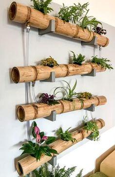 Bamboo Decor – Trend Decor for You! Bamboo Planter, Bamboo Art, Bamboo Crafts, Bamboo Garden, Vertical Garden Design, Small Balcony Decor, Bamboo Design, House Plants Decor, Garden Crafts
