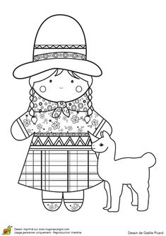 Coloriage La Poupée Bolivienne - Hugolescargot.com Colouring Sheets For Adults, Colouring Pages, Coloring Pages For Kids, Coloring Sheets, Embroidery Works, Embroidery Patterns, Homemade Puffy Paint, Art For Kids, Crafts For Kids