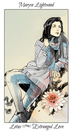 The haunted older generation of TMI, Maryse with a lotus flower, The language of flowers (picked by C.Clare, art by C.Jean)