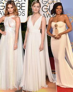 Tapete vermelho do Globo de Ouro ontem à noite mostrou um monte de opções de vestidos para quem gosta de tons clarinhos: dos branquíssimos aos nudes.  ...