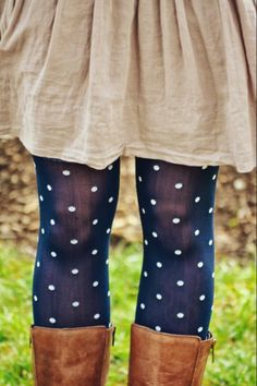 These blue polka dotted tights are great for keeping you warm and showing your #Geneseo spirit for Blue & White Weds.