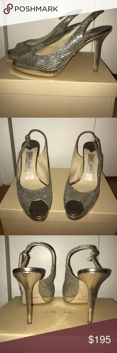 Jimmy Choo peep toe sling backs Classic glitter silver and gold jimmy choo peep toe sling back platform heels. Side strap closure. Perfect for a special occasion or the holiday season! Original box and dust bag included. Jimmy Choo Shoes Heels