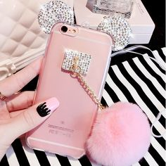 BeautySHell Hot Luxury Rhinestone Mickey Mouse Ear Pink Puffer Ball Cover Cases For Samsung Galaxy J510 J710 Lady Shell