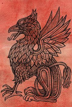 Red Gryphon by Lynnette Shelley. Original piece, dark wood frame, in the room. Griffin Tattoo, Fantasy Creatures, Mythical Creatures, Griffin Mythical, Ancient Tattoo, Beast Creature, Madhubani Art, Celtic Tattoos, Medieval Fantasy