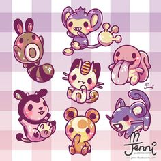 Some cute normal type Pokemon coz normal is still cute. Cute Kawaii Drawings, Kawaii Doodles, Cute Animal Drawings, Kawaii Art, Pokemon Comics, Pokemon Memes, Pokemon Fan Art, Photo Pokémon, Cute Pokemon Wallpaper