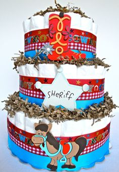 Baby Diaper Cake  Red & Blue Cowboy Baby by DomesticDivaDesignz, $70.00