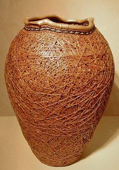 """RANDOM ORDER VII""  Dawn Walden  Ojibway  Cedar bark, cedar roots, bear grass   18"" x 12"" x 12"""