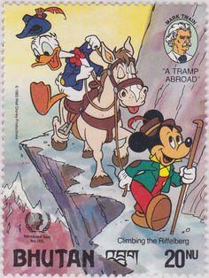 """Escalando el """"Riffelberg"""" Mark Twain. """"Un vagabundo en el extranjero"""", 1985 Año internacional de la Juventud 05/11/1985 05/11/1985 Bhutan"""